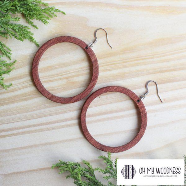 Wooden-earrings-Rosewood-Hoops-large