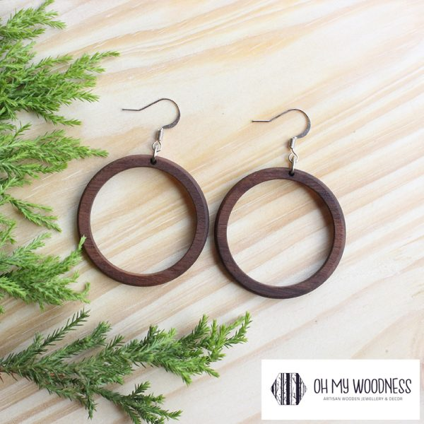 Wooden-earrings-Walnut-Small-Hoops