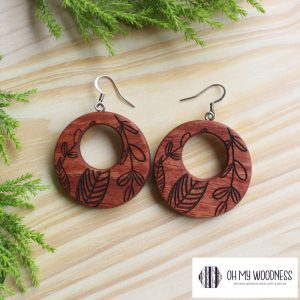 Wooden-Earrings---Rosewood-Double-round-floral