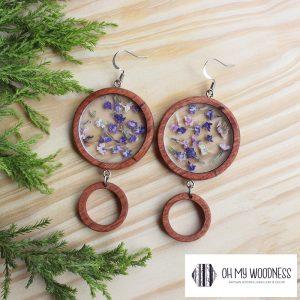 Wooden-earrings-Double-Hoops-flower-insert