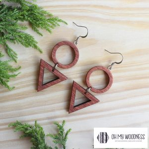 Wooden-earrings-Rosewood-Triangle-&-Circle-combo