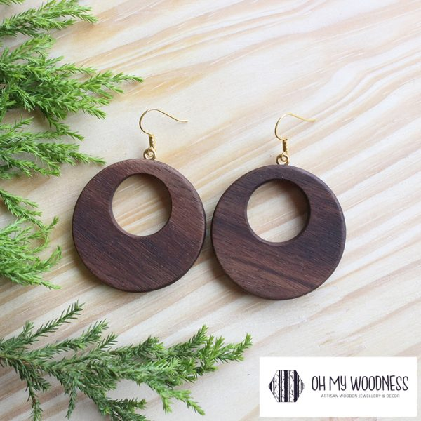 Wooden-earrings-Walnut-Double-circles-plain