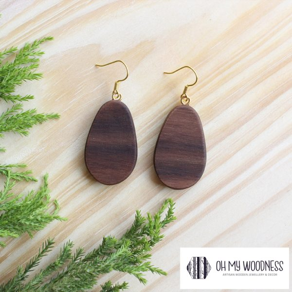 Wooden-earrings-Walnut-Small-Flat-Ovals-Gold