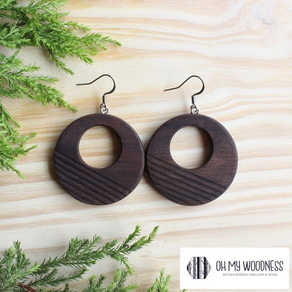 Wooden-earrings-Walnut-Striped-double-circles