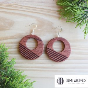 Wooden-Earrings---Rosewood--Double-round-Stripes