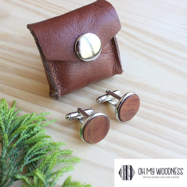 Wooden-cufflinks---Plain--Kiaat