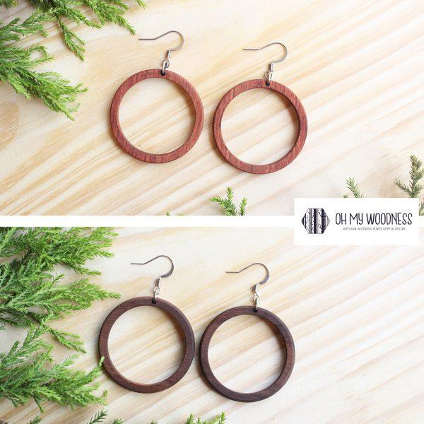 Wooden-earrings-Small-hoops-set