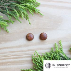 Wooden-earrings-studs-Kiaat-Half-Spheres