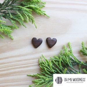 Wooden-earrings-studs-Walnut-Hearts